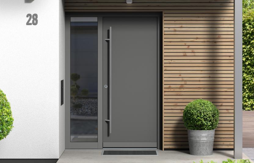 Haustür in Grau